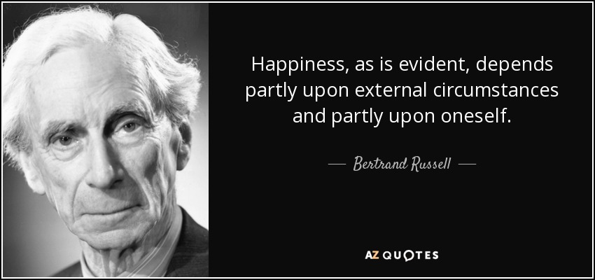 Happiness, as is evident, depends partly upon external circumstances and partly upon oneself. - Bertrand Russell