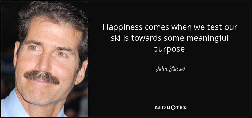 Happiness comes when we test our skills towards some meaningful purpose. - John Stossel