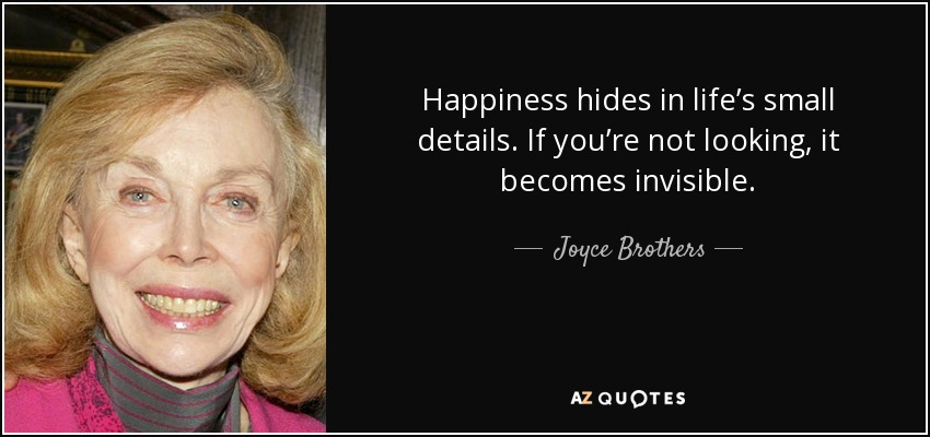Happiness hides in life's small details. If you're not looking, it becomes invisible. - Joyce Brothers