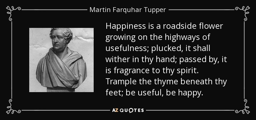 Happiness is a roadside flower growing on the highways of usefulness; plucked, it shall wither in thy hand; passed by, it is fragrance to thy spirit. Trample the thyme beneath thy feet; be useful, be happy. - Martin Farquhar Tupper