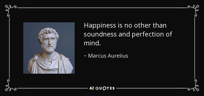 Happiness is no other than soundness and perfection of mind. - Marcus Aurelius