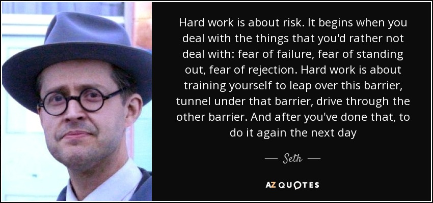 Hard work is about risk. It begins when you deal with the things that you'd rather not deal with: fear of failure, fear of standing out, fear of rejection. Hard work is about training yourself to leap over this barrier, tunnel under that barrier, drive through the other barrier. And after you've done that, to do it again the next day - Seth
