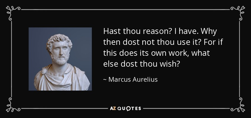 Hast thou reason? I have. Why then dost not thou use it? For if this does its own work, what else dost thou wish? - Marcus Aurelius