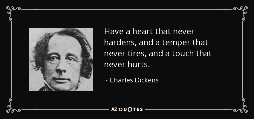 Have a heart that never hardens, and a temper that never tires, and a touch that never hurts. - Charles Dickens