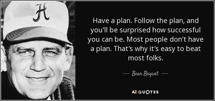 Have a plan. Follow the plan, and you'll be surprised how successful you can be. Most people don't have a plan. That's why it's easy to beat most folks. - Bear Bryant