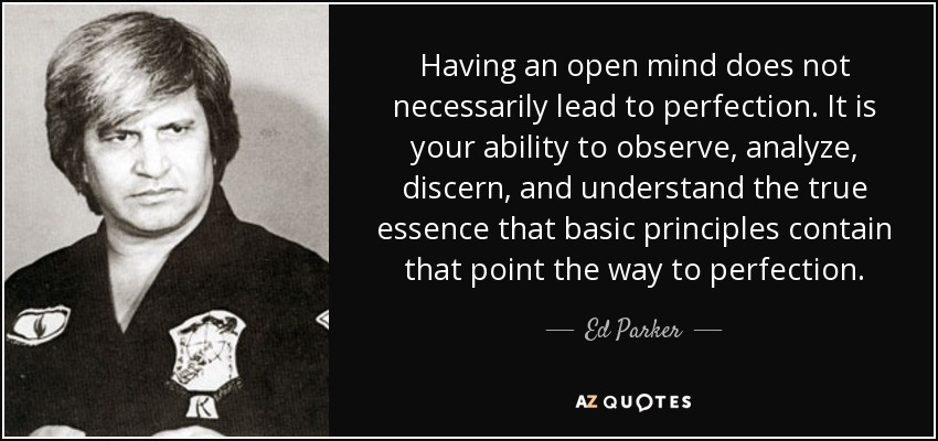 Having an open mind does not necessarily lead to perfection. It is your ability to observe, analyze, discern, and understand the true essence that basic principles contain that point the way to perfection. - Ed Parker