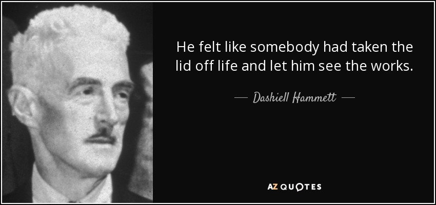 He felt like somebody had taken the lid off life and let him see the works. - Dashiell Hammett