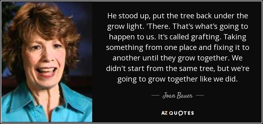 He stood up, put the tree back under the grow light. 'There. That's what's going to happen to us. It's called grafting. Taking something from one place and fixing it to another until they grow together. We didn't start from the same tree, but we're going to grow together like we did. - Joan Bauer