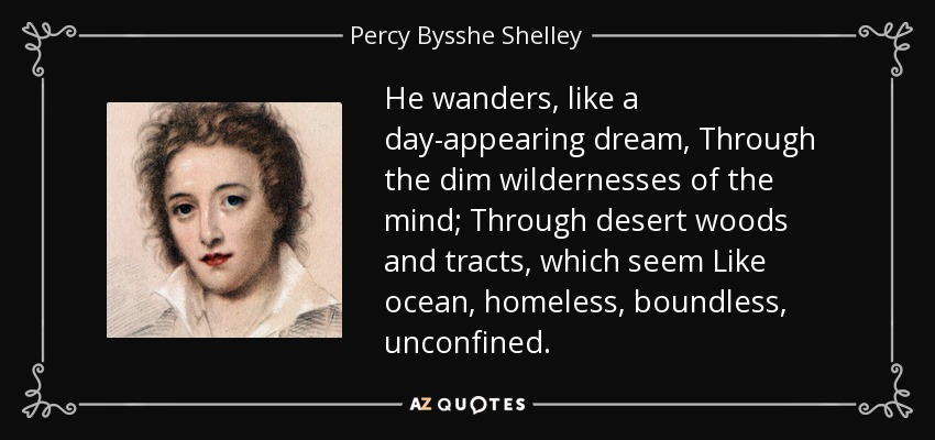 He wanders, like a day-appearing dream, Through the dim wildernesses of the mind; Through desert woods and tracts, which seem Like ocean, homeless, boundless, unconfined. - Percy Bysshe Shelley