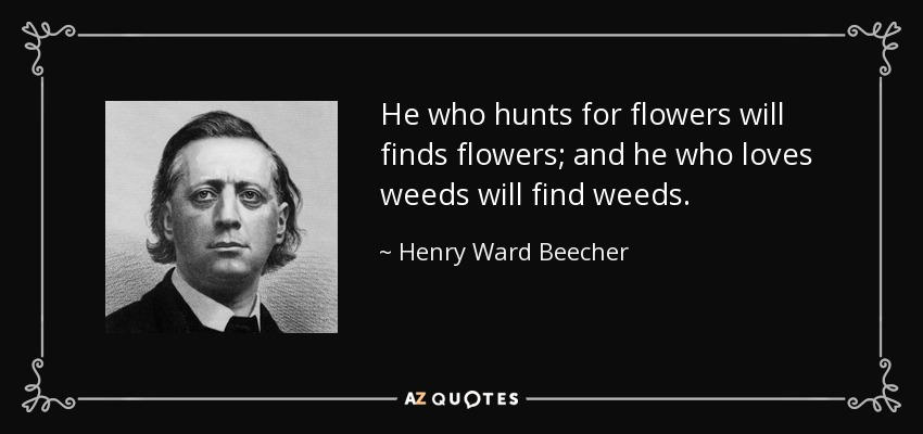 He who hunts for flowers will finds flowers; and he who loves weeds will find weeds. - Henry Ward Beecher