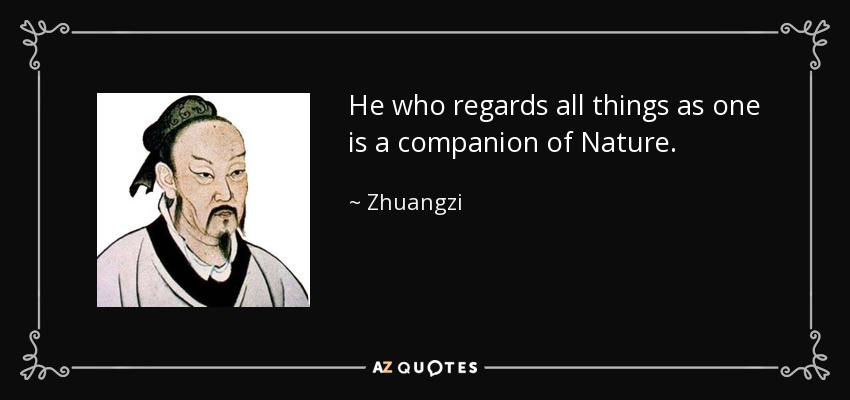 He who regards all things as one is a companion of Nature. - Zhuangzi