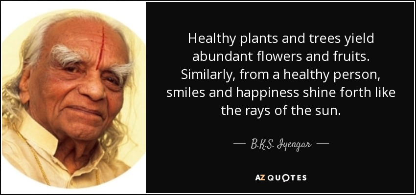 Healthy plants and trees yield abundant flowers and fruits. Similarly, from a healthy person, smiles and happiness shine forth like the rays of the sun. - B.K.S. Iyengar