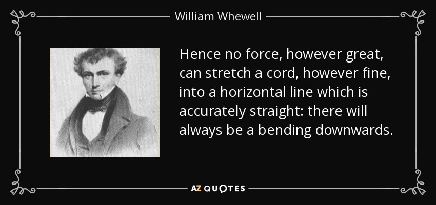Hence no force, however great, can stretch a cord, however fine, into a horizontal line which is accurately straight: there will always be a bending downwards. - William Whewell