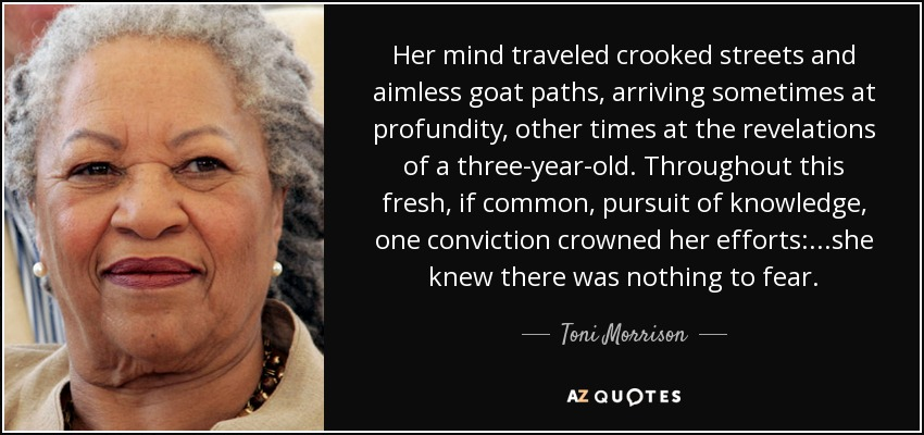 Her mind traveled crooked streets and aimless goat paths, arriving sometimes at profundity, other times at the revelations of a three-year-old. Throughout this fresh, if common, pursuit of knowledge, one conviction crowned her efforts: ...she knew there was nothing to fear. - Toni Morrison