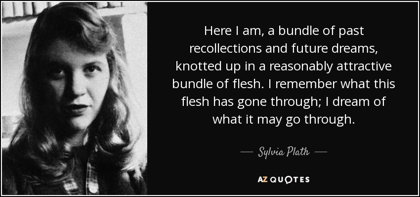 Here I am, a bundle of past recollections and future dreams, knotted up in a reasonably attractive bundle of flesh. I remember what this flesh has gone through; I dream of what it may go through. - Sylvia Plath