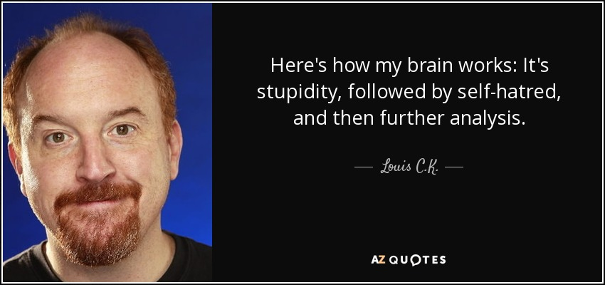 Here's how my brain works: It's stupidity, followed by self-hatred, and then further analysis. - Louis C. K.