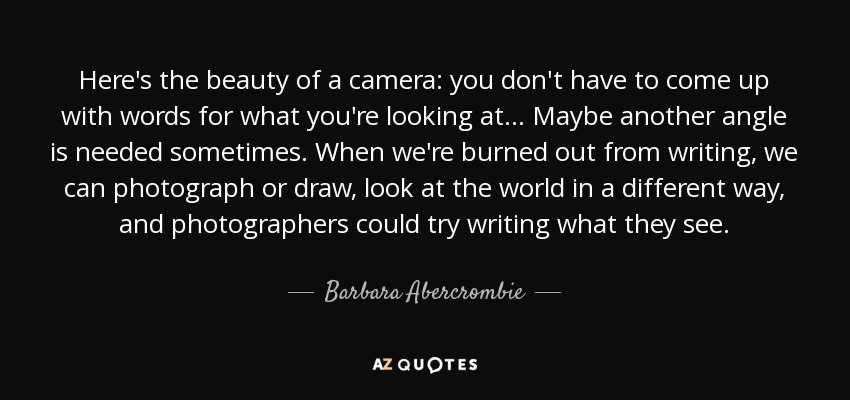 Here's the beauty of a camera: you don't have to come up with words for what you're looking at... Maybe another angle is needed sometimes. When we're burned out from writing, we can photograph or draw, look at the world in a different way, and photographers could try writing what they see. - Barbara Abercrombie