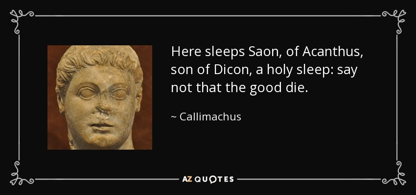 Here sleeps Saon, of Acanthus, son of Dicon, a holy sleep: say not that the good die. - Callimachus