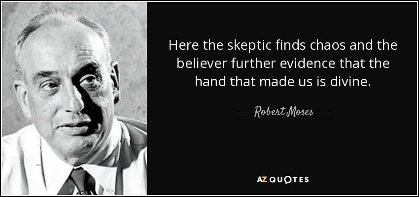Here the skeptic finds chaos and the believer further evidence that the hand that made us is divine. - Robert Moses