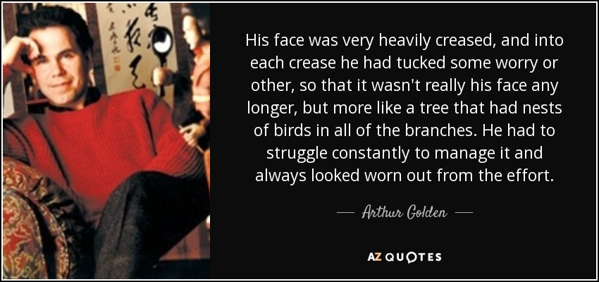 His face was very heavily creased, and into each crease he had tucked some worry or other, so that it wasn't really his face any longer, but more like a tree that had nests of birds in all of the branches. He had to struggle constantly to manage it and always looked worn out from the effort. - Arthur Golden