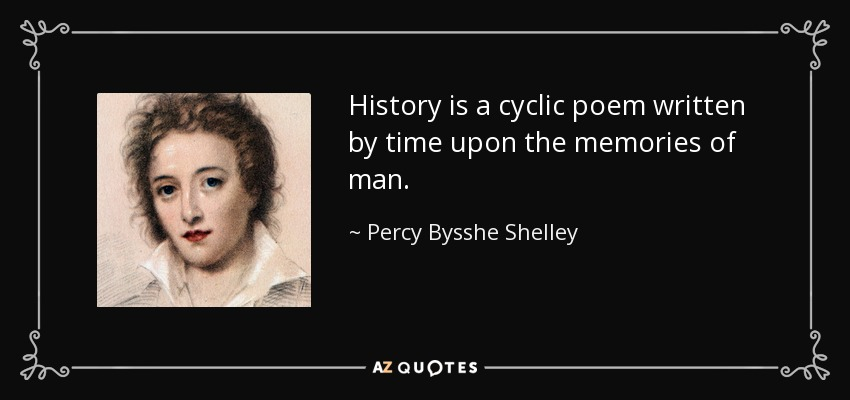 History is a cyclic poem written by time upon the memories of man. - Percy Bysshe Shelley