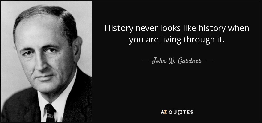 History never looks like history when you are living through it. - John W. Gardner