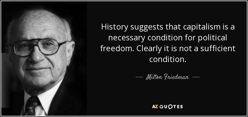 History suggests that capitalism is a necessary condition for political freedom. Clearly it is not a sufficient condition. - Milton Friedman