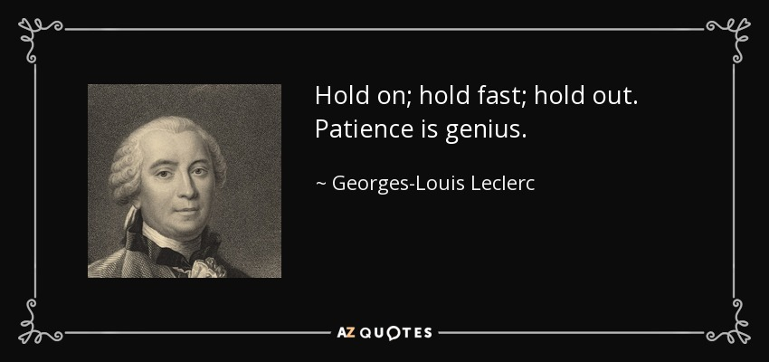 Hold on; hold fast; hold out. Patience is genius. - Georges-Louis Leclerc, Comte de Buffon