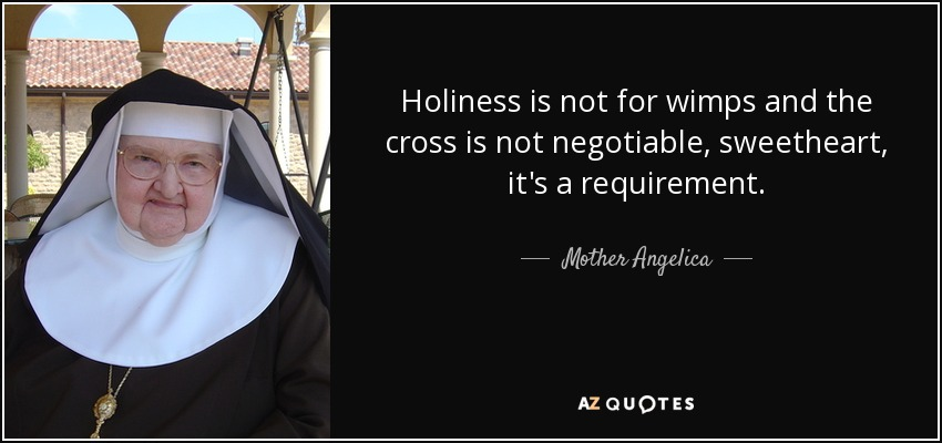 Holiness is not for wimps and the cross is not negotiable, sweetheart, it's a requirement. - Mother Angelica