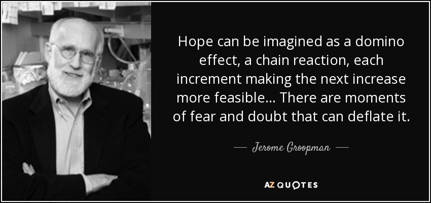 Hope can be imagined as a domino effect, a chain reaction, each increment making the next increase more feasible... There are moments of fear and doubt that can deflate it. - Jerome Groopman