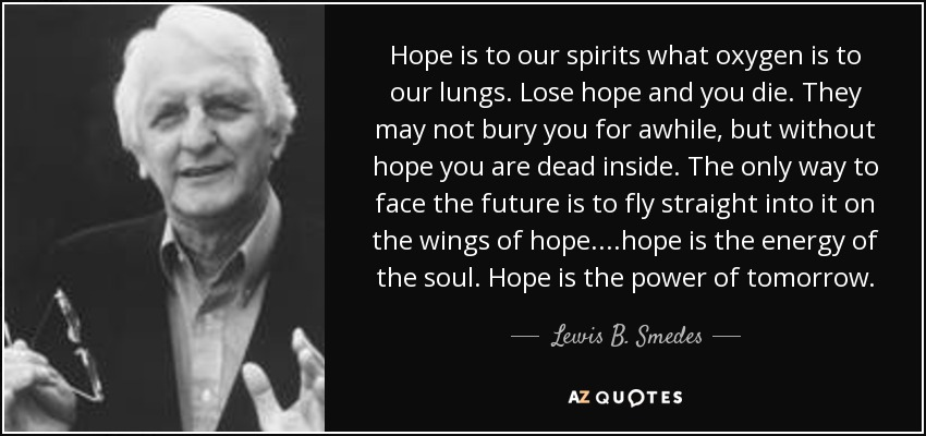 Lewis B Smedes Quote Hope Is To Our Spirits What Oxygen