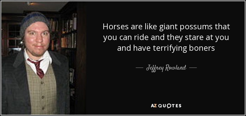 Horses are like giant possums that you can ride and they stare at you and have terrifying boners - Jeffrey Rowland