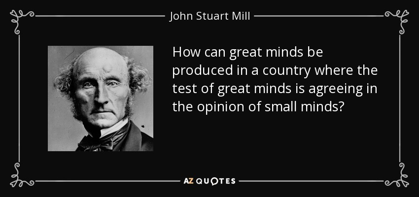 How can great minds be produced in a country where the test of great minds is agreeing in the opinion of small minds? - John Stuart Mill
