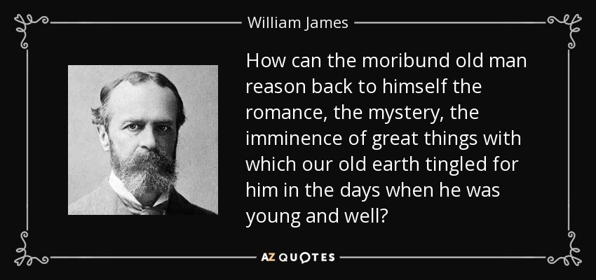 How can the moribund old man reason back to himself the romance, the mystery, the imminence of great things with which our old earth tingled for him in the days when he was young and well? - William James