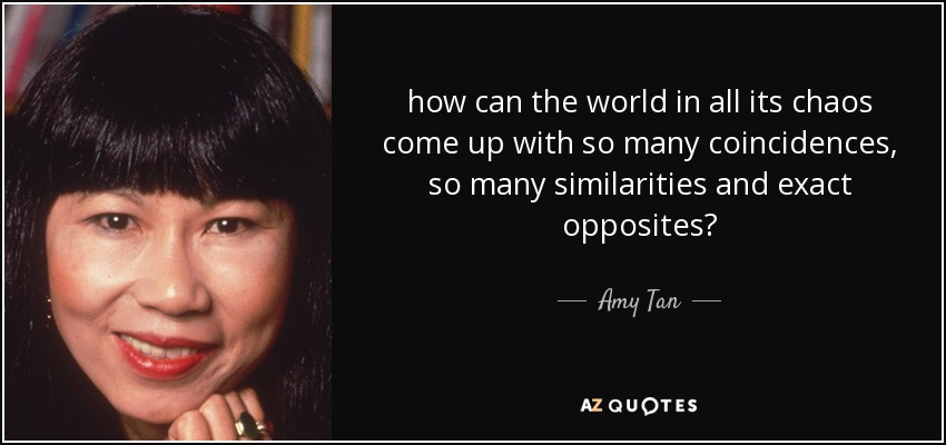 how can the world in all its chaos come up with so many coincidences, so many similarities and exact opposites? - Amy Tan