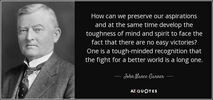 How can we preserve our aspirations and at the same time develop the toughness of mind and spirit to face the fact that there are no easy victories? One is a tough-minded recognition that the fight for a better world is a long one. - John Nance Garner