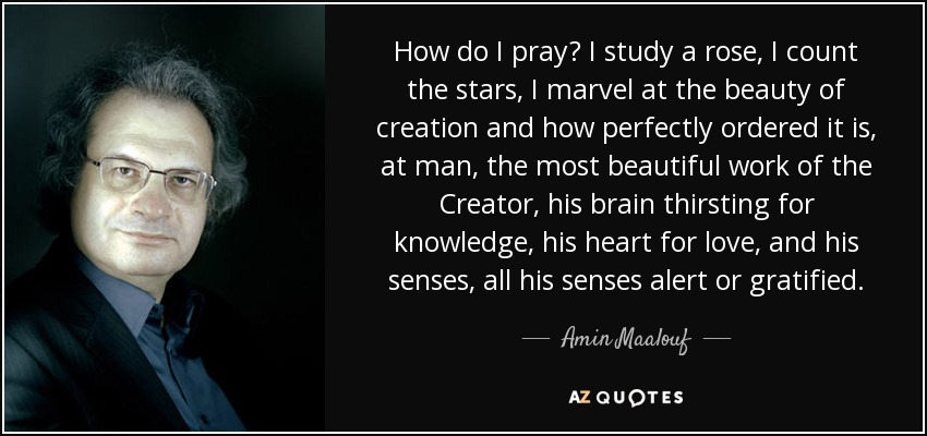 How do I pray? I study a rose, I count the stars, I marvel at the beauty of creation and how perfectly ordered it is, at man, the most beautiful work of the Creator, his brain thirsting for knowledge, his heart for love, and his senses, all his senses alert or gratified. - Amin Maalouf