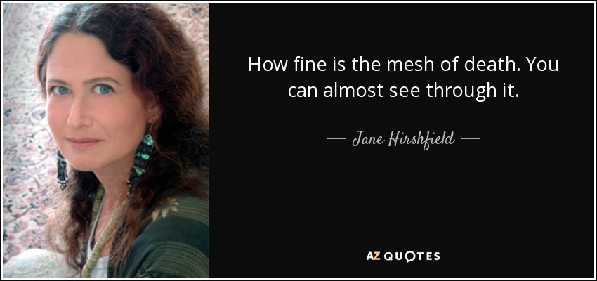 How fine is the mesh of death. You can almost see through it. - Jane Hirshfield