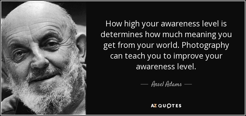 How high your awareness level is determines how much meaning you get from your world. Photography can teach you to improve your awareness level. - Ansel Adams
