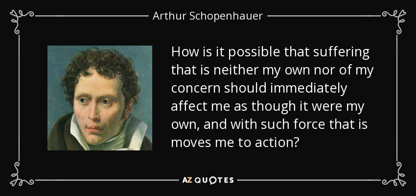 How is it possible that suffering that is neither my own nor of my concern should immediately affect me as though it were my own, and with such force that is moves me to action? - Arthur Schopenhauer