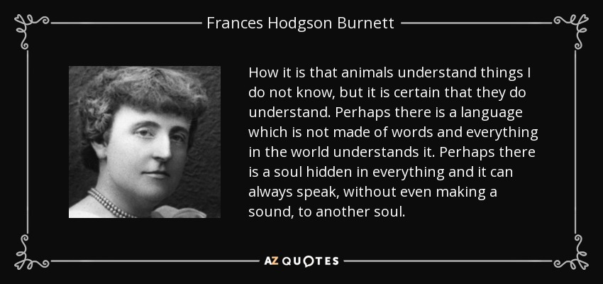 How it is that animals understand things I do not know, but it is certain that they do understand. Perhaps there is a language which is not made of words and everything in the world understands it. Perhaps there is a soul hidden in everything and it can always speak, without even making a sound, to another soul. - Frances Hodgson Burnett