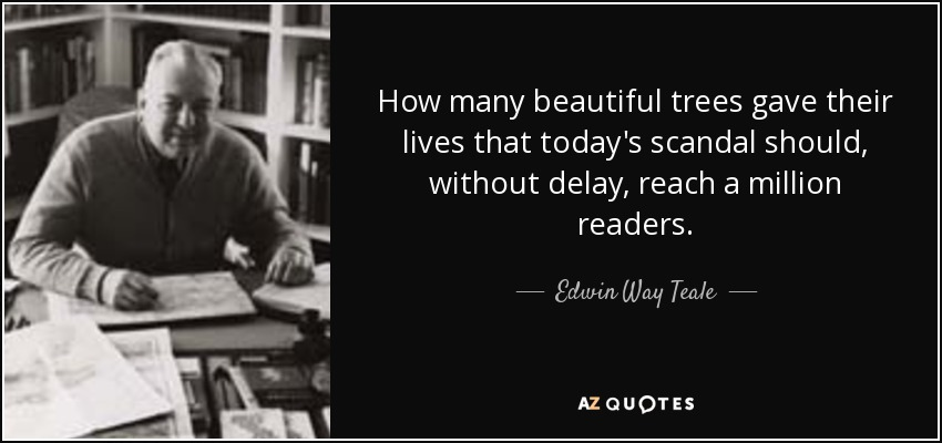 How many beautiful trees gave their lives that today's scandal should, without delay, reach a million readers. - Edwin Way Teale
