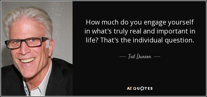 How much do you engage yourself in what's truly real and important in life? That's the individual question. - Ted Danson