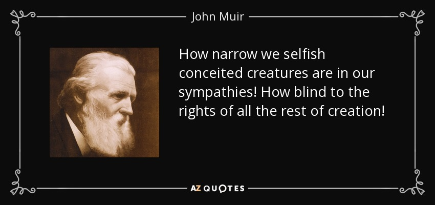How narrow we selfish conceited creatures are in our sympathies! How blind to the rights of all the rest of creation! - John Muir