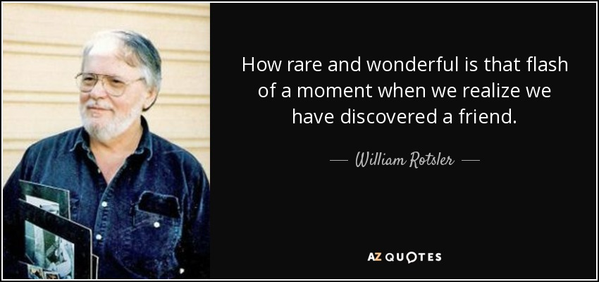 How rare and wonderful is that flash of a moment when we realize we have discovered a friend. - William Rotsler