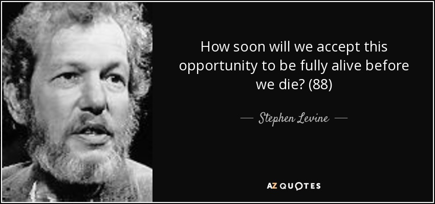 How soon will we accept this opportunity to be fully alive before we die? (88) - Stephen Levine