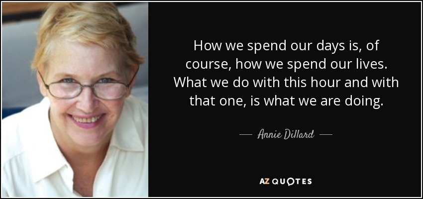 How we spend our days is, of course, how we spend our lives. What we do with this hour and with that one, is what we are doing. - Annie Dillard