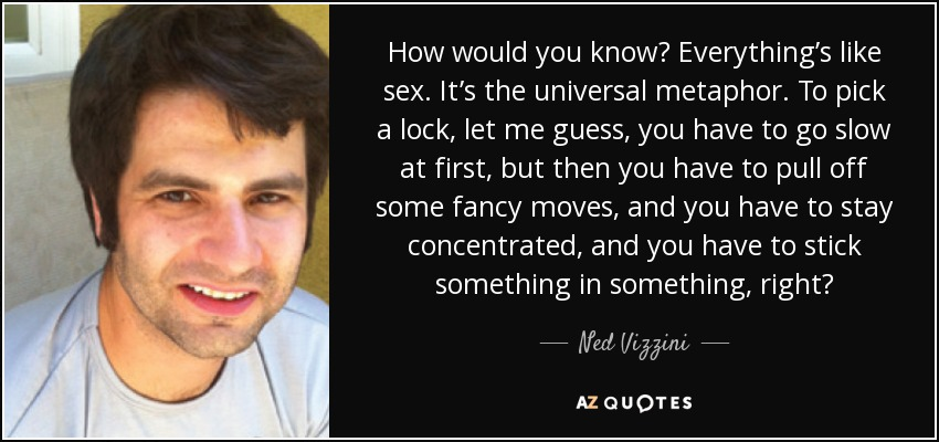 How would you know? Everything's like sex. It's the universal metaphor. To pick a lock, let me guess, you have to go slow at first, but then you have to pull off some fancy moves, and you have to stay concentrated, and you have to stick something in something, right? - Ned Vizzini