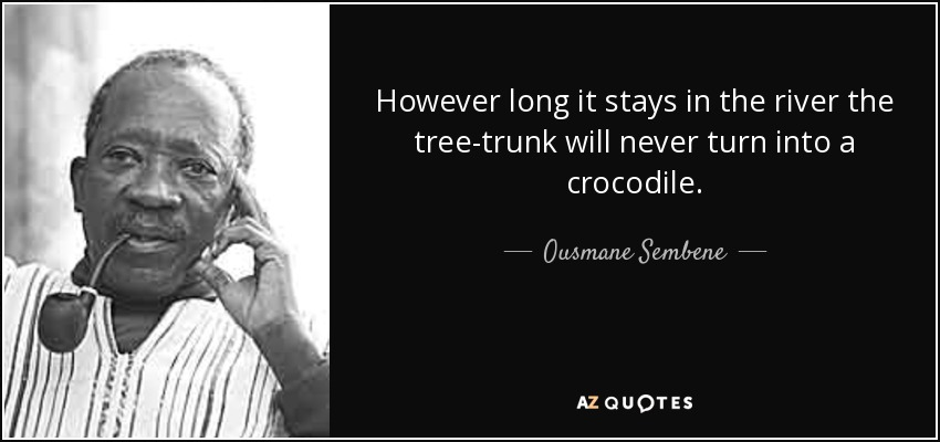 However long it stays in the river the tree-trunk will never turn into a crocodile. - Ousmane Sembene