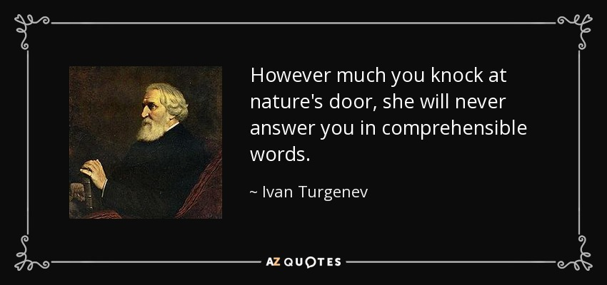 However much you knock at nature's door, she will never answer you in comprehensible words. - Ivan Turgenev